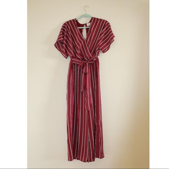 86b1f3751af3 Maroon Pin-Striped Jumpsuit